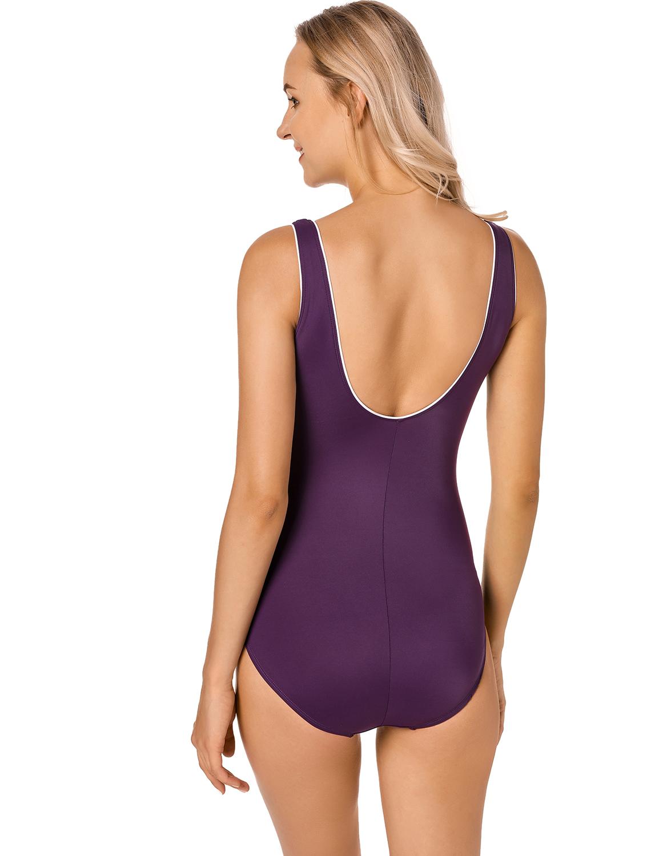 Damen Große Größen Tief V Badeanzug Schale Einteiler Schlankheits Bademode