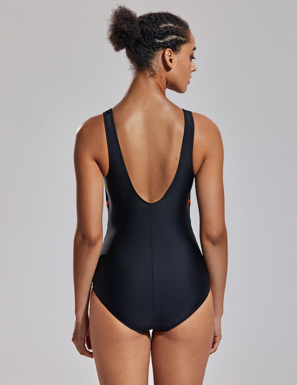 Damen Rund Ausschnitt einteiliger Bademode Streifendruck U-förmige Badeanzug