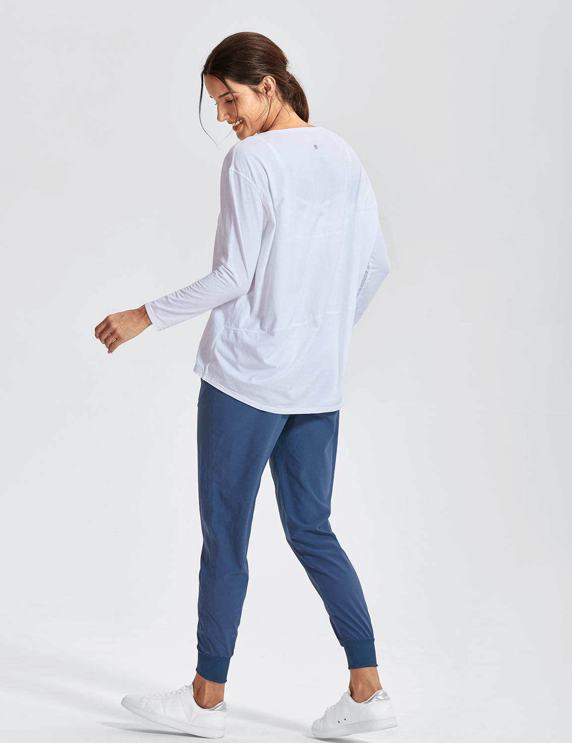 Women/'s Casual Long Sleeves Pima Cotton Workout T-shirt Sports Boat Neck Top