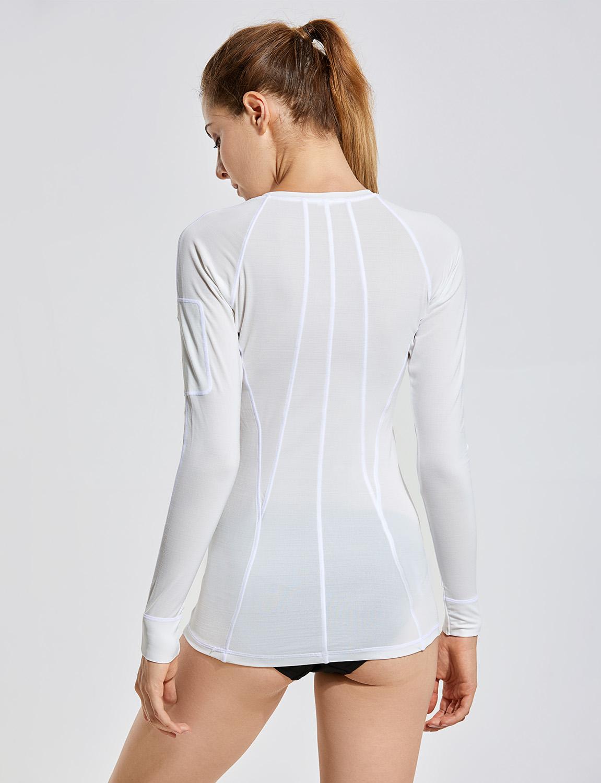 Damen T-Shirt Lange Ärmel Badeshirt Schwimmshirt UV-Schutz Trainingsanzug