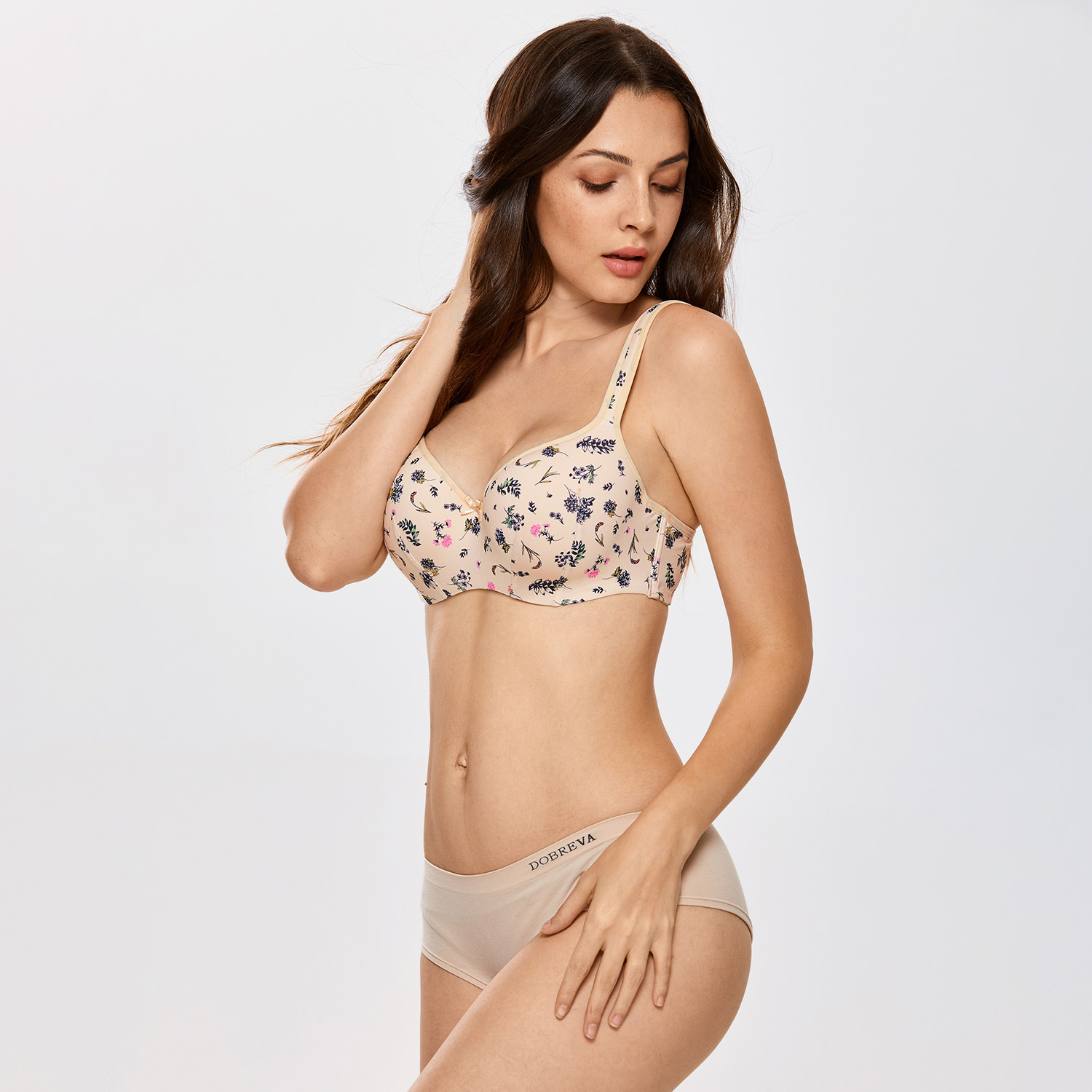 DELIMIRA Women Balconette Bra Full Figure Underwire Lightly Lined Smooth Contour
