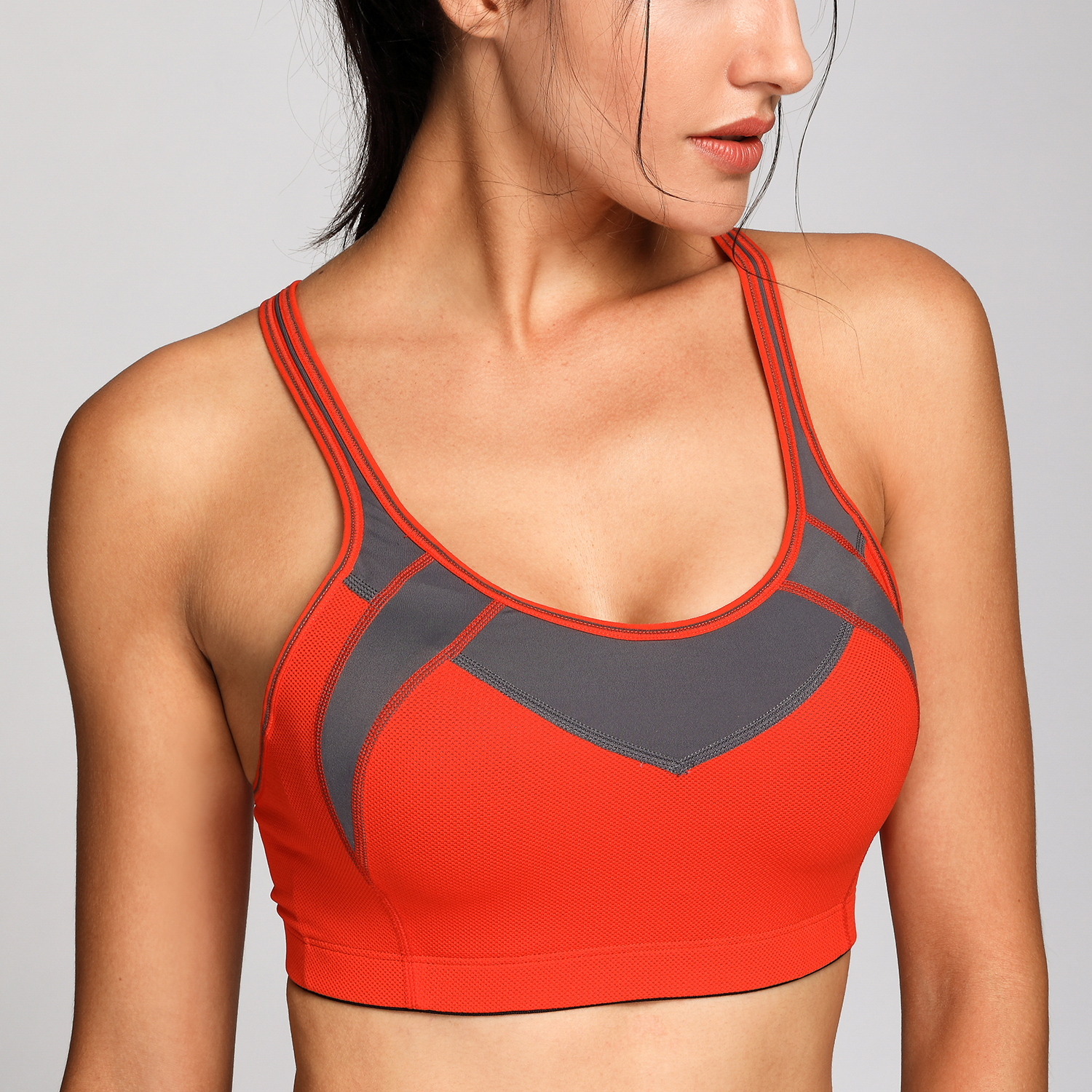 Women-039-s-High-Impact-Gym-Active-Sports-Bra-With-Mesh-Wireless-Padded-Cup-X-back thumbnail 13
