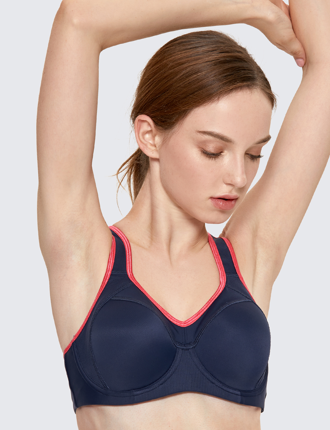 SYROKAN Womens Full Support Racerback Lightly Lined Underwire Sports Bra