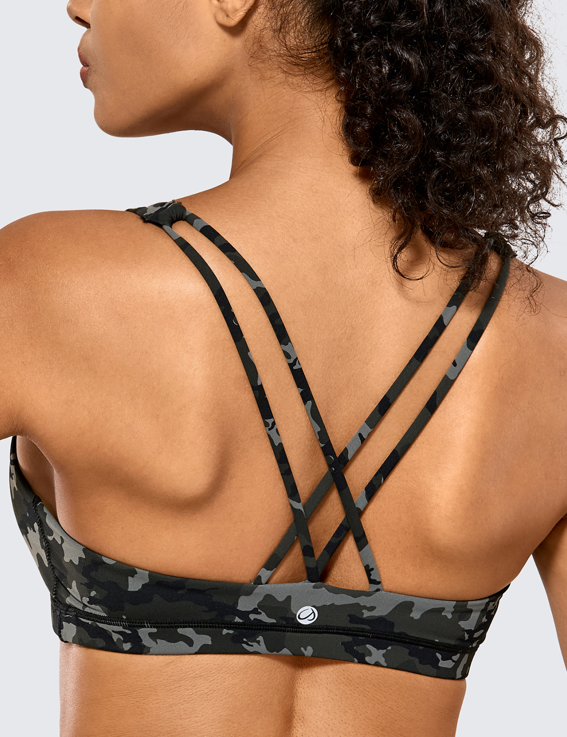CRZ YOGA Womens Low Impact Wirefree Padded Yoga Sports Bra Strappy Back Activewear for Women