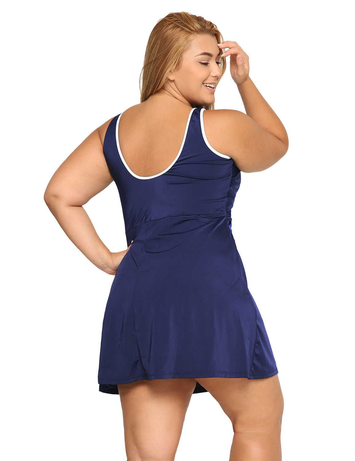 Women-039-s-One-Piece-Zip-Front-Skirted-Plus-Size-Swimdress-Swimsuit thumbnail 9