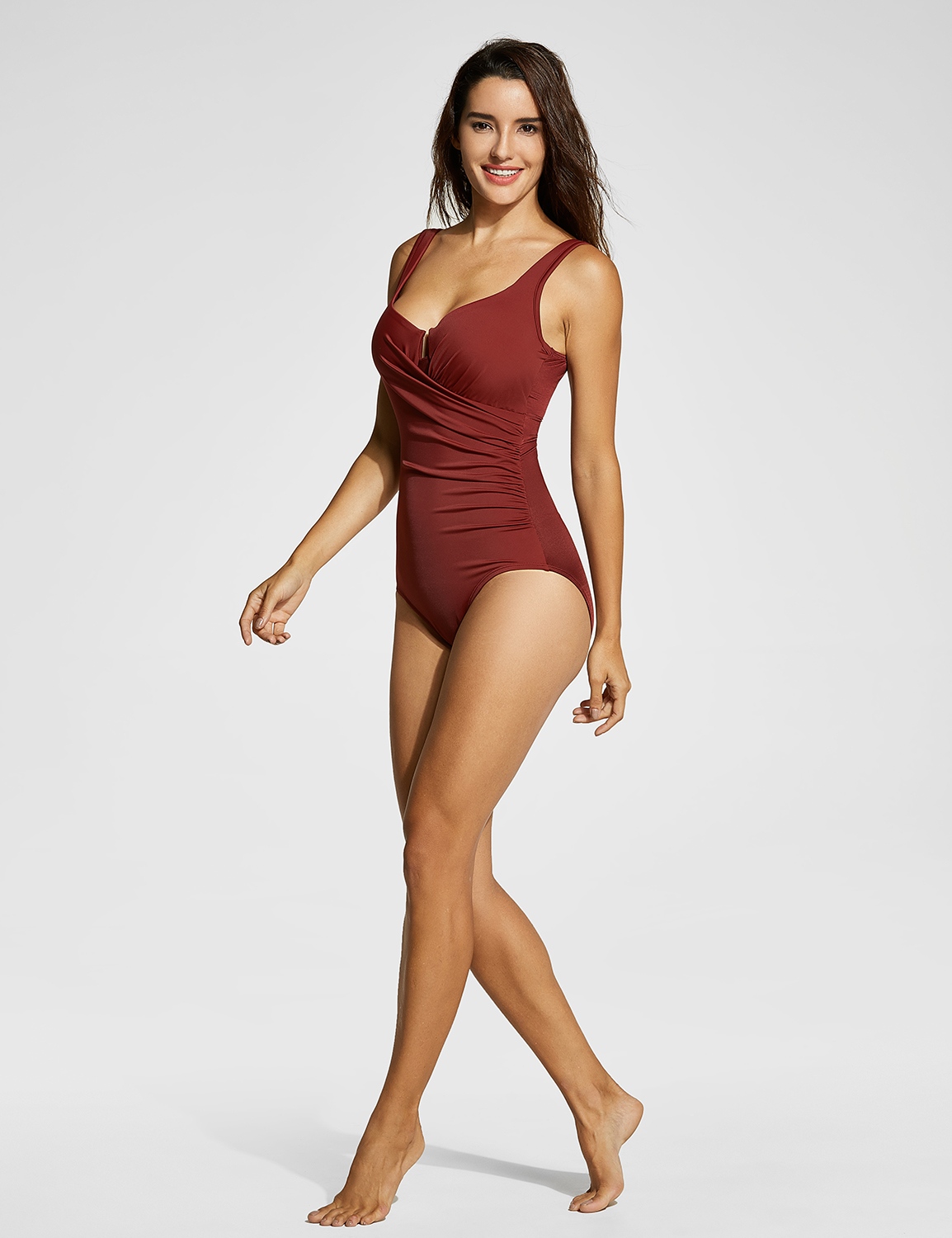 0539677de3670 Women's Ruched Padded Slimming Swimsuit with Underwire One Piece | eBay