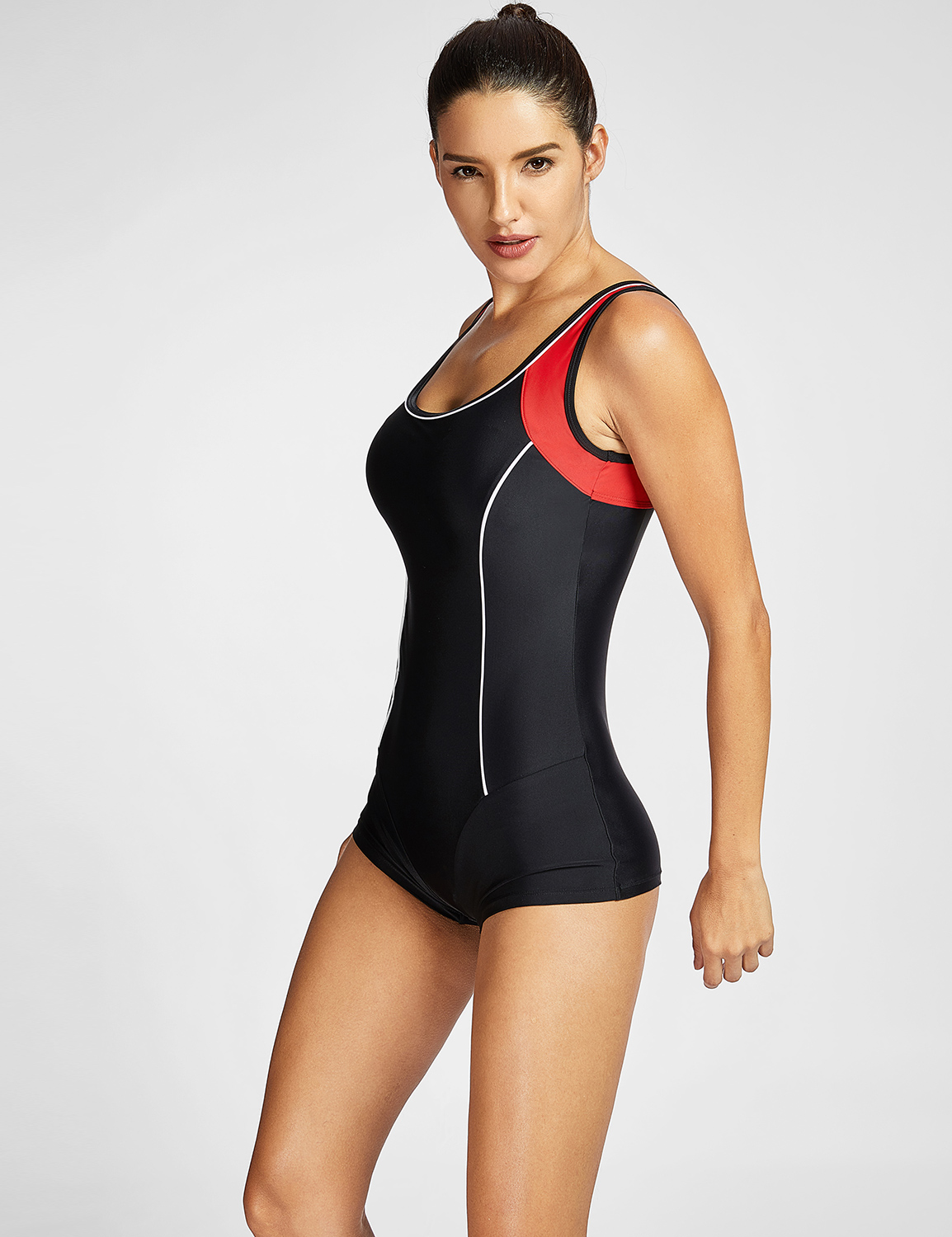 2d510b6127e Women s Plus Size Athletic Sport One Piece Boy-Leg Swimsuits