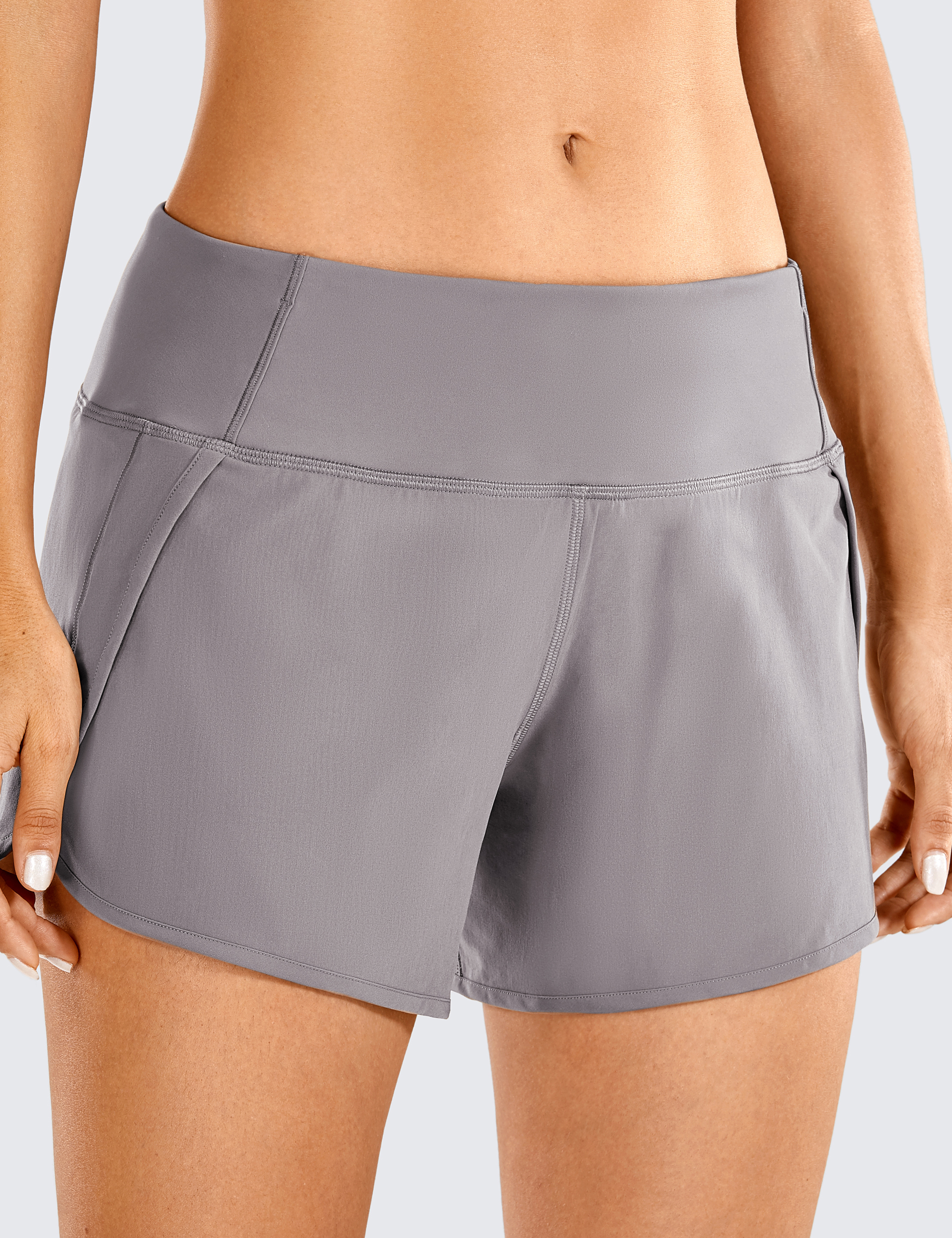 CRZ YOGA Womens Running Workout Shorts with Liner 2 in 1 Athletic Sport Shorts with Zip Pocket-4 inch