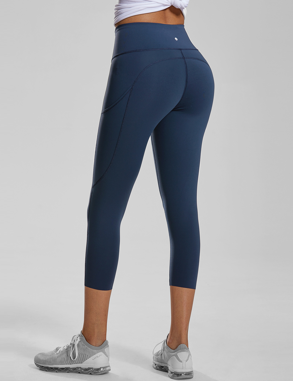 Women S High Waist Capri Sports Leggings With Side Pockets