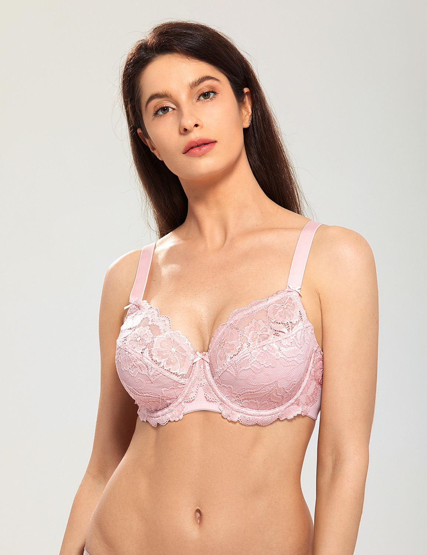 Sheer Lace Full Figure Bra Plus Size Beige Lingerie Aurora