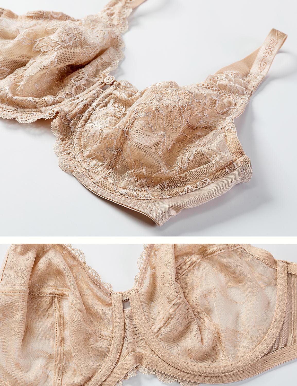 Femme-Soutien-Gorge-Minimiseur-a-Armatures-Tissu-Dentelle-Transparent