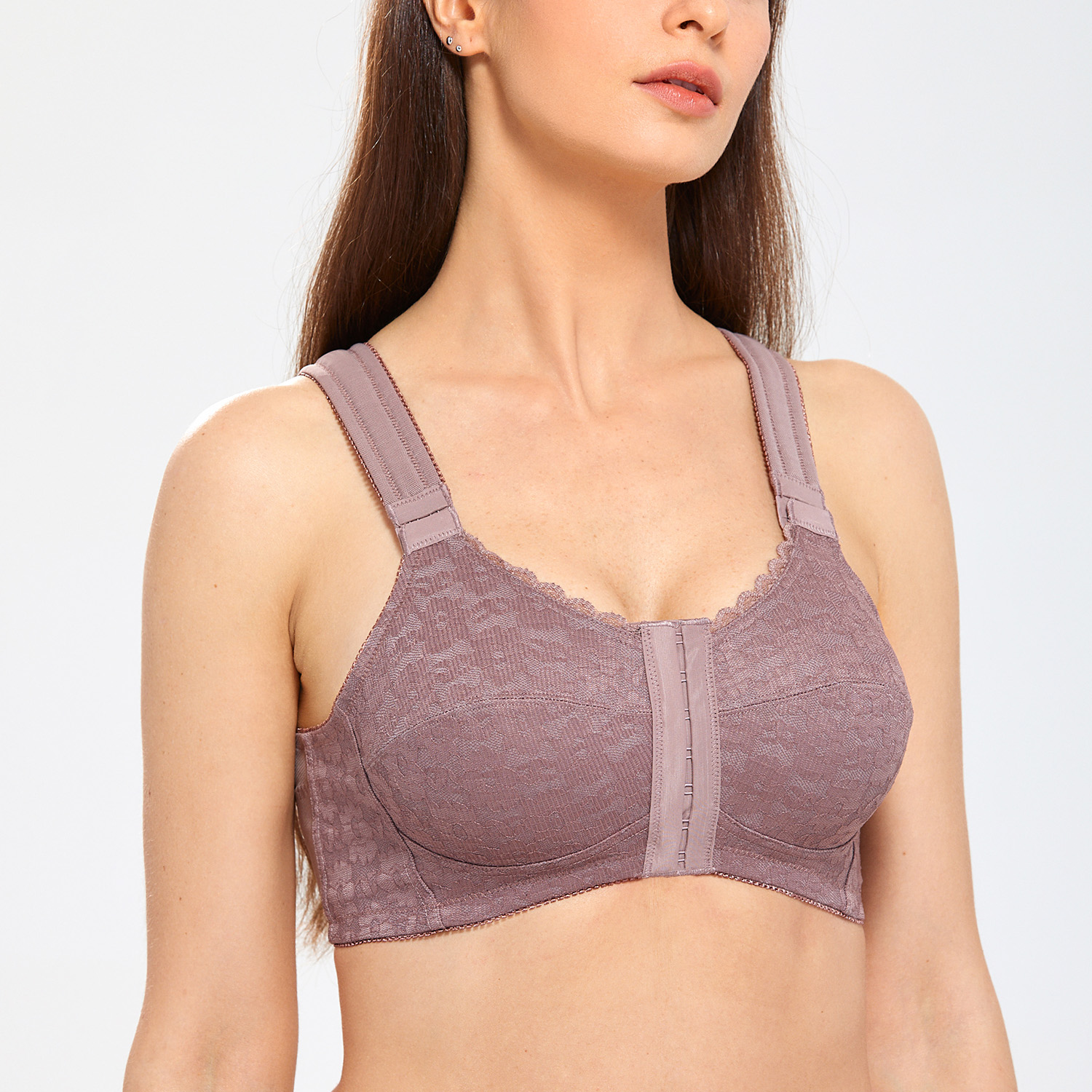 Women-039-s-Full-Coverage-Posture-Corrector-Front-Closure-Wireless-Back-Support-Bra thumbnail 13